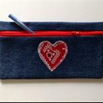 Denim Pencil Case - Red Heart