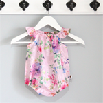 Rainbow Rose pink blush voile Baby Playsuit / Onesie / Romper