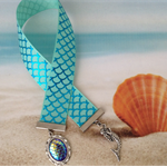 Mermaid Scale Foil Ribbon Bookmark Silver Plated Setting Cabochon Charm