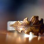 Oak Leaf Wedding Band, Raw Brass & Sterling Silver Woodland Jewellery