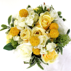 Golden Spring Flower Bouquet for Bridesmaid with Groomsman's Buttonhole