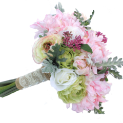 Bridesmaid's Bouquet, Pastel Rustic Style Wedding Flowers with Buttonhole