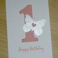 Girls 1st Birthday card - butterfly