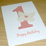 Girls 1st Birthday card - butterfly