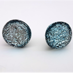 Burst of Colour Silver Crackle Dichroic Fused Glass Earrings