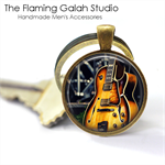 Electric Guitar - Pendant or Key Ring.  Available in Silver or Bronze