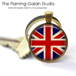 UNION JACK Pendant or Key Ring.  Available in Bronze or Silver