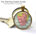 SOUTH AFRICA MAP Pendant or Key Ring.  Available in Bronze or Silver
