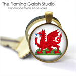 Welsh Dragon Pendant or Key Ring.  Available in Silver or Bronze