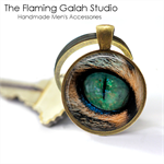 All Seeing Eye - Animal Eye Pendant or Key Ring.  Available in Silver or Bronze