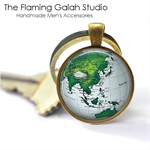 WORLD GLOBE Pendant or Key Ring.  Available in Bronze or Silver