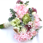 Rustic Chic Pastel Silk Wedding Bouquet for Bride with Groom's Buttonhole