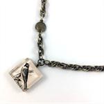 Glass tile little bird photo pendant on bronze hardware