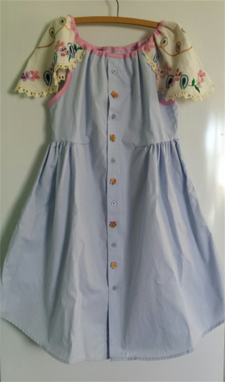 Handmade Upcycled Cotton and Linen Party Dress ☆ Size 8 ☆One Off ☆ Ready to send
