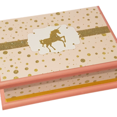 Pink & Gold Glitter Unicorn Keepsake Trinket Treasure Jewellery Memory WoodenBox
