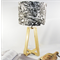 Black Marble Fabric Lampshade on a Wooden Lamps Base