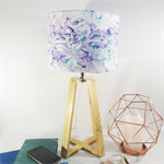 Purple & Teal Marble Fabric Lampshade on a Wooden Lamps Base