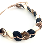 Mens Bracelet- Carved Wood and Bone Disks on natural leather cord