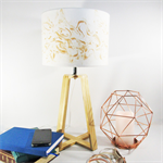 Gold Marble Fabric Lampshade on a Wooden Lamps Base