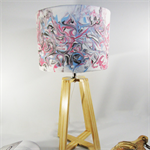 Pink & Blue Marble Fabric Lampshade on a Wooden Lamps Base