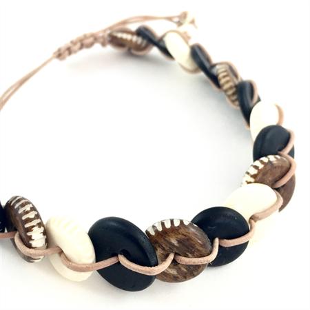 Mens Bracelet- Carved Wood and Bone Disks on natural leather cord