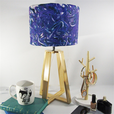 Purple Marble Fabric Lampshade on a Wooden Lamps Base