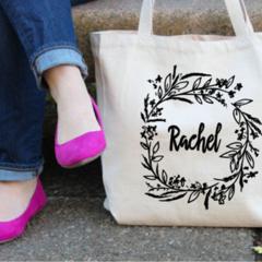 Custom Floral Tote Bag , Monogrammed Bag , Personalized Tote Bag , Bridesmaid