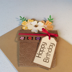 Female birthday card. Flower pot birthday card.