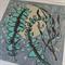 Linocut Banksia Leaves Turquoise Grey