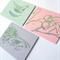 Five Handprinted linocut cards blank set
