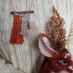 woven necklace mini - Rust with brown falcon feather