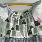Handmade Upcycled Cotton Cat Face Dress ☆ Size 5 ☆ One Off ☆ Ready to send.
