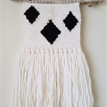 woven wall hanging - tribal diamond, black and white