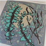 Linocut Banksia Leaves Turquoise Grey