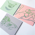 Five Handprinted linocut cards blank set
