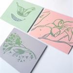 Set of Four Original Handprinted Linocut Greeting Cards