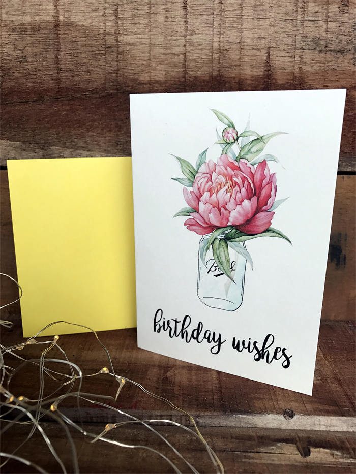Birthday Wishes Watercolour Roses In A Mason Jar Card