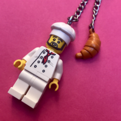 Chef Cook Guy Minifigure Keychain Keyring..Handmade using LEGO ® parts