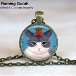 CUTE CAT Pendant or Key Ring.  Available in Bronze or Silver