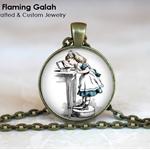 ALICE IN WONDERLAND Pendant or Key Ring.  Available in Bronze or Silver