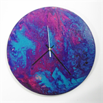 Abstract Acrylic artwork- A Touch of Violet - Handmade Wooden Clock- Fathers Day