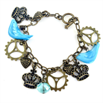 Turquoise and Bronze Steampunk Charm Bracelet