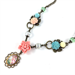 Spring floral necklace with crystals