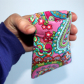 Medium Pouch with Flexible Frame Opening in Pretty Tulip Fabric