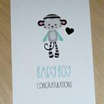 Baby Boy congratulations card - monkey