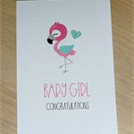 Baby Girl congratulations card - flamingo