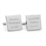 Engraved personalised silver cufflinks - Amazing Father - Fathers Day gift