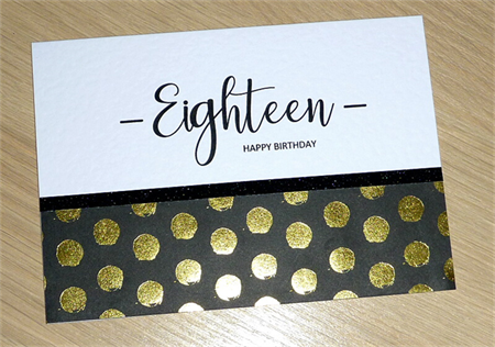 18th Birthday card - Eighteen - black & gold - or any age