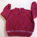 SIZE 4 -5yrs :Hand knitted jumper in Wine and White : Unisex, washable, OOAK