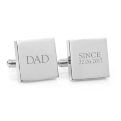 Engraved personalised silver cufflinks - Dad Since - Fathers Day gift